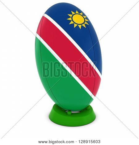 Namibia Rugby - Namibian Flag On Standing Rugby Ball - 3D Illustration