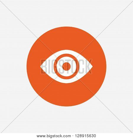 Eye sign icon. Publish content button. Visibility. Orange circle button with icon. Vector