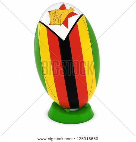 Zimbabwe Rugby - Zimbabwean Flag On Standing Rugby Ball - 3D Illustration