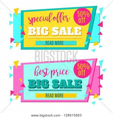 Sale background. Sale tag. Sale poster. Sale vector. Special Offer. Shopping Banner Template. 50% off. Vector illustration.