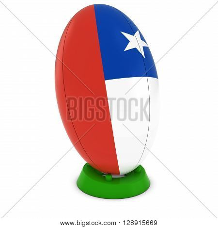Chile Rugby - Chilean Flag On Standing Rugby Ball - 3D Illustration