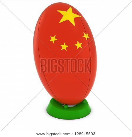 China Rugby - Chinese Flag On Standing Rugby Ball - 3D Illustration