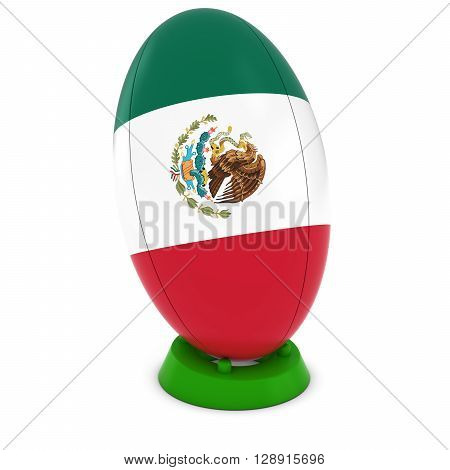 Mexico Rugby - Mexican On Standing Rugby Ball - 3D Illustration