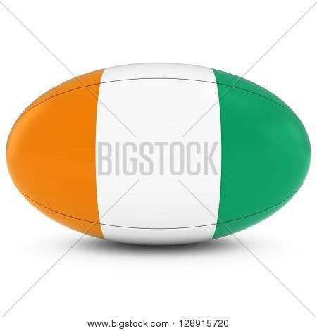 Cote D'ivoire Rugby - Ivorian Flag On Rugby Ball On White - 3D Illustration