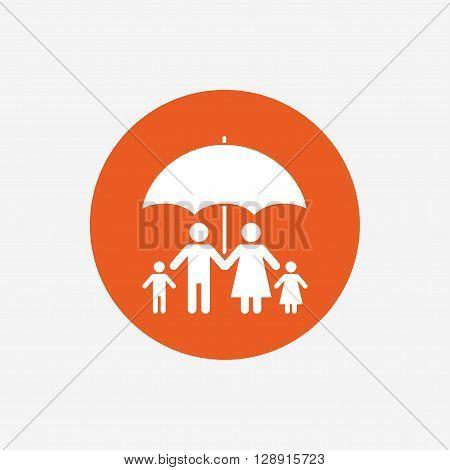 Complete family insurance sign icon. Umbrella symbol. Orange circle button with icon. Vector