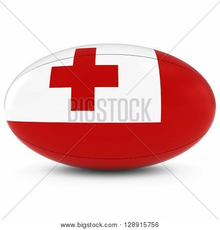 Tonga Rugby - Tongan Flag On Rugby Ball On White - 3D Illustration