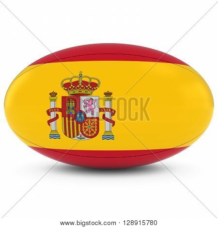 Spain Rugby - Spanish Flag On Rugby Ball On White - 3D Illustration