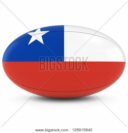 Chile Rugby - Chilean Flag On Rugby Ball On White - 3D Illustration