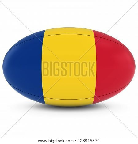 Romania Rugby - Romanian Flag On Rugby Ball On White - 3D Illustration
