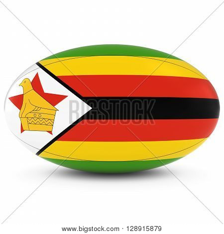 Zimbabwe Rugby - Zimbabwean Flag On Rugby Ball On White - 3D Illustration