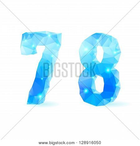 Shiny blue polygonal font. Crystal style numerals seven and eight