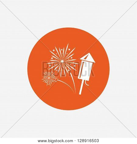 Fireworks with rocket sign icon. Explosive pyrotechnic symbol. Orange circle button with icon. Vector