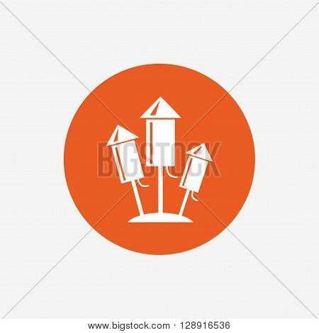 Fireworks rockets sign icon. Explosive pyrotechnic device symbol. Orange circle button with icon. Vector