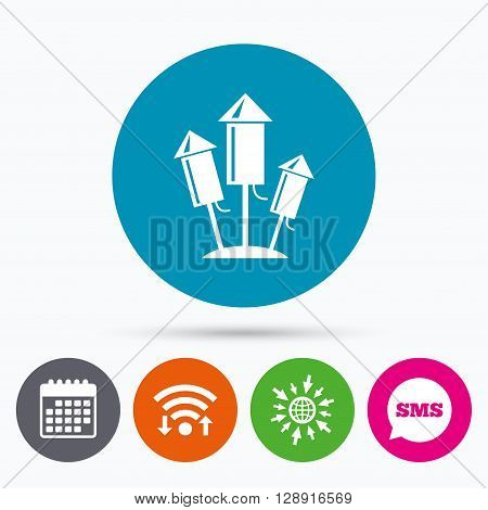 Wifi, Sms and calendar icons. Fireworks rockets sign icon. Explosive pyrotechnic device symbol. Go to web globe.