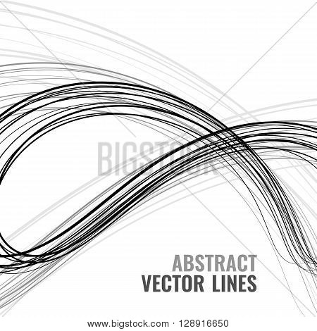 Abstract vector wave background. Digital line illustration with template text. Monochrome motion desigh. Technology concept. Futuristic element for your web and print design.