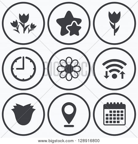 Clock, wifi and stars icons. Flowers icons. Bouquet of roses symbol. Flower with petals and leaves. Calendar symbol.