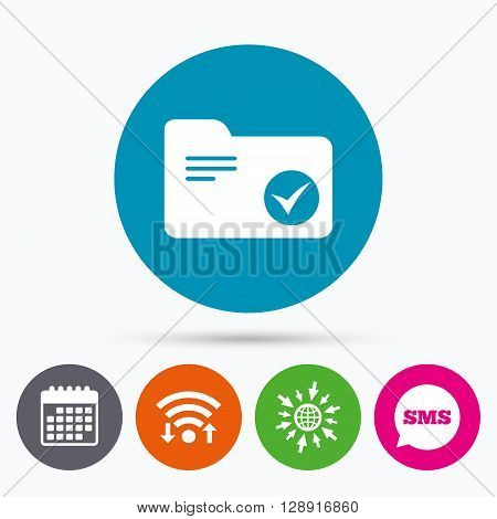 Wifi, Sms and calendar icons. Select document folder sign. Accounting binder symbol. Bookkeeping management. Go to web globe.