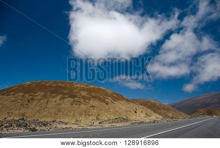 Driving On Highway 200 Through Mauna Kea Hills To Hilo