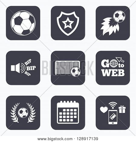 Mobile payments, wifi and calendar icons. Football icons. Soccer ball sport sign. Goalkeeper gate symbol. Winner award laurel wreath. Goalscorer fireball. Go to web symbol.