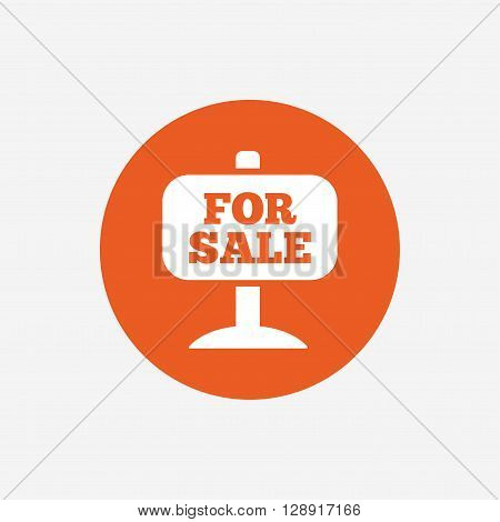 For sale sign icon. Real estate selling. Orange circle button with icon. Vector