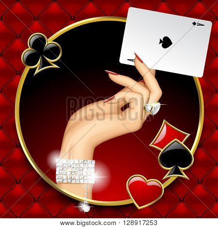Hand of woman with jewelry holding Ace playing card in the round frame on red button-tufted leather background with suit symbols. Casino game concept design. 3D illustration