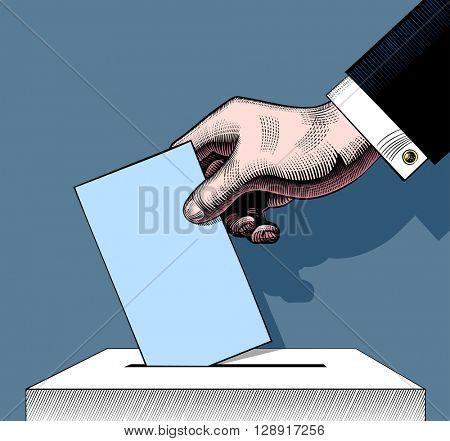 Hand putting voting paper in the ballot box. Vintage engraving stylized colored drawing