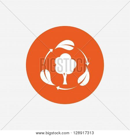 Fresh air sign icon. Forest tree with leaves symbol. Orange circle button with icon. Vector