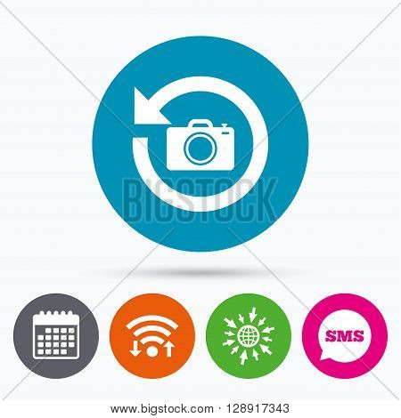 Wifi, Sms and calendar icons. Front photo camera sign icon. Digital photo camera symbol. Change front to back. Go to web globe.