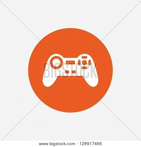 Joystick sign icon. Video game symbol. Orange circle button with icon. Vector