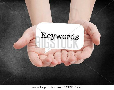 Keywords written on a speechbubble