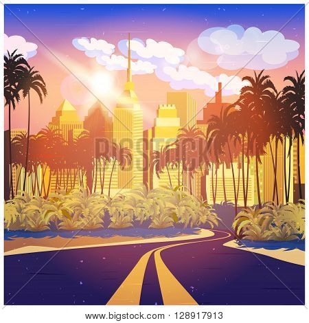 Stylized vector illustration of city. Highway And Sunlight