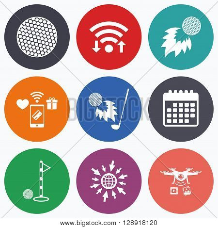 Wifi, mobile payments and drones icons. Golf ball icons. Fireball with club sign. Luxury sport symbol. Calendar symbol.