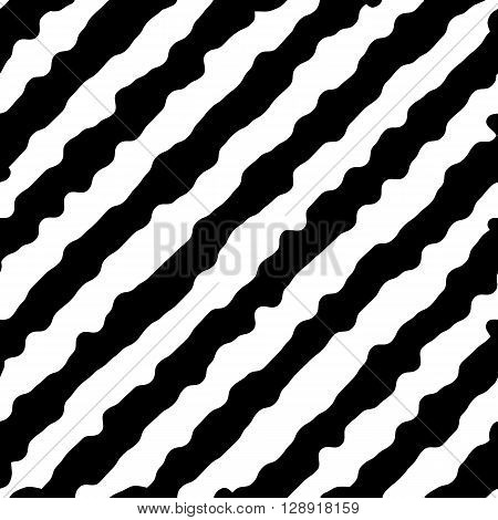 Seamless abstract pattern with diagonal ripple lines.Striped monochrome artistic vector illustration for design. Endless black and white wrapping.