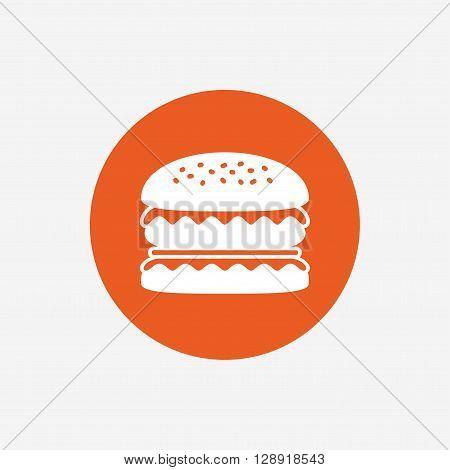 Hamburger icon. Burger food symbol. Cheeseburger sandwich sign. Orange circle button with icon. Vector
