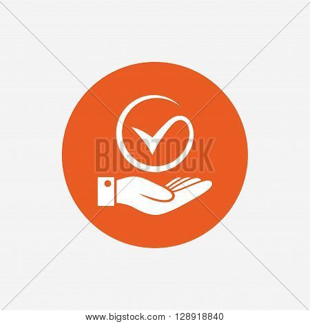Tick and hand sign icon. Palm holds check mark symbol. Orange circle button with icon. Vector