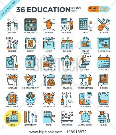 Education & Learning Pixel Perfect Outline Icons