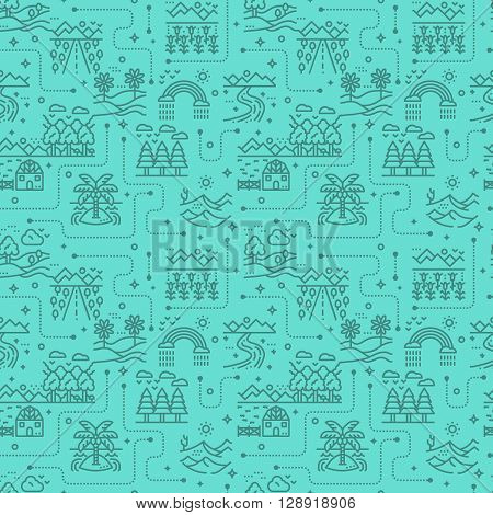 Nature landscape icons seamless pattern green background