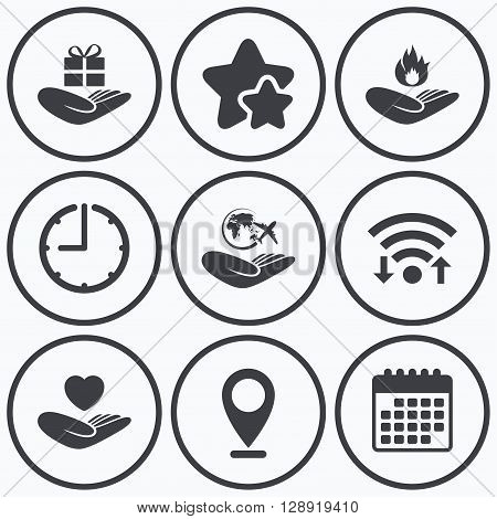 Clock, wifi and stars icons. Helping hands icons. Health and travel trip insurance symbols. Gift present box sign. Fire protection. Calendar symbol.