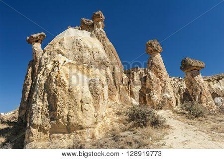 Rocks looking like mushrooms  lit by a setting sun in Cappadocia, Turkey