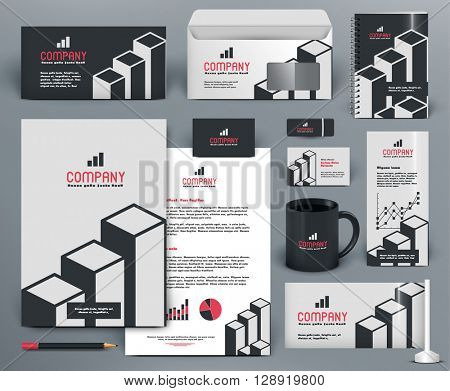 Professional  branding design kit  with graphs for investment, financial corp. Gray, white, red, black colors. Premium corporate identity template. Business stationery mock-up with logo.