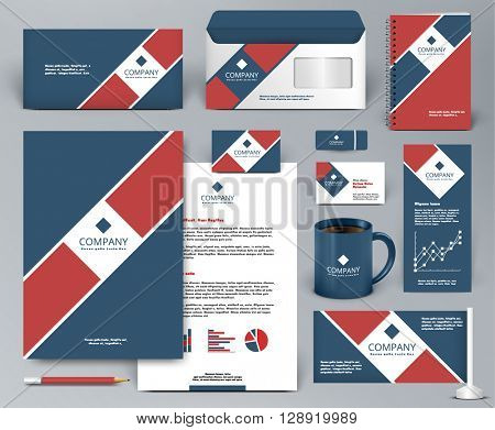 Professional universal branding design kit  for real estate, cafe, restaurant. Premium corporate identity template. Business stationery mock-up. Editable vector illustration: folder, cup, etc.