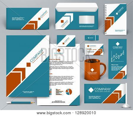 Professional universal branding design kit with arrow. Corporate identity template. Business stationery mock-up. Editable vector illustration: folder, cup, etc.