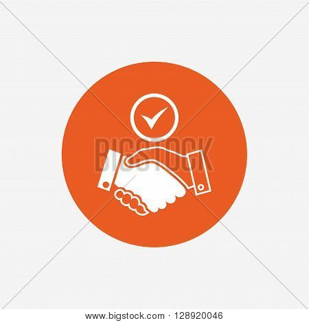 Tick handshake sign icon. Successful business with check mark symbol. Orange circle button with icon. Vector