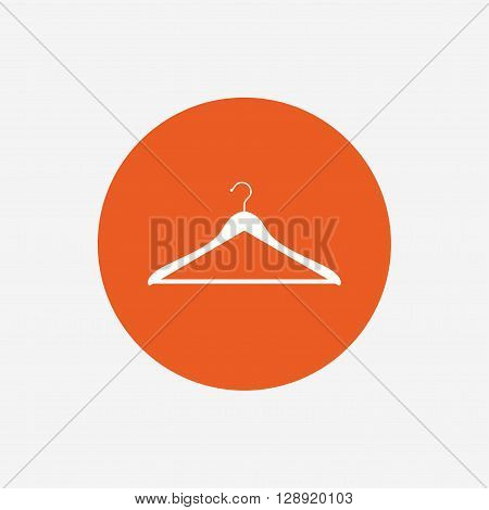 Hanger sign icon. Cloakroom symbol. Orange circle button with icon. Vector