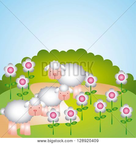 flock of sheep design, vector illustration eps10 graphic