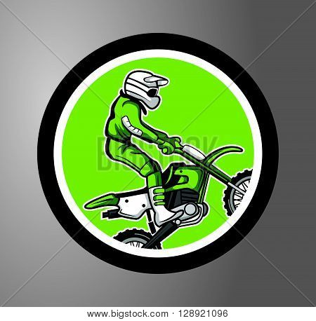 Motocross Circle sticker .eps10 editable vector illustration design