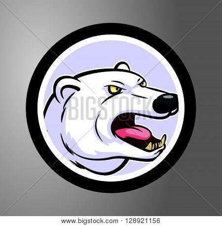 Polar bear  Circle sticker .eps10 editable vector illustration design