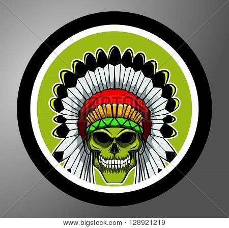 Apache skull Circle sticker .eps10 editable vector illustration design