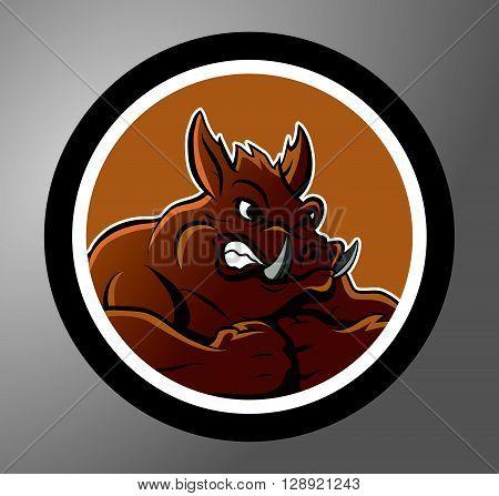 Wild boar Circle sticker .eps10 editable vector illustration design