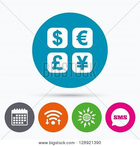 Wifi, Sms and calendar icons. Currency exchange sign icon. Currency converter symbol. Money label. Go to web globe.